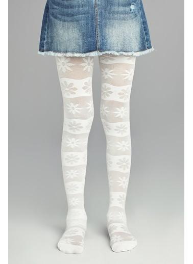 Penti Pretty Basic Flower Külotlu Çorap Beyaz